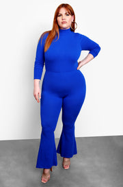Royal Blue Bell Bottom Jumpsuit Plus Sizes