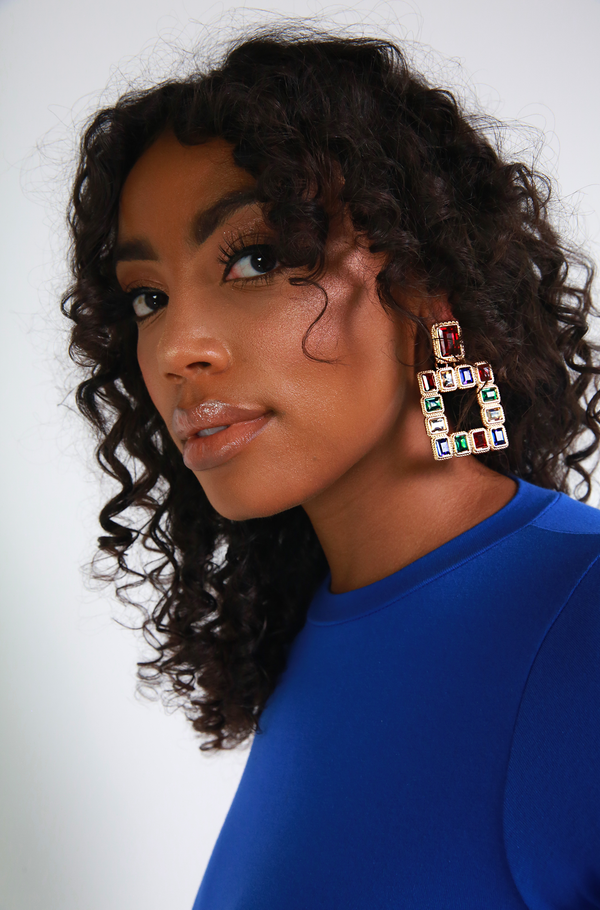 Multi Color Squared Gemstone Earrings