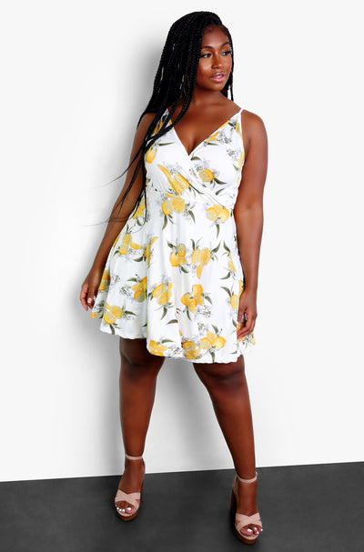 White V-Neck Skater Midi Dress Plus Sizes