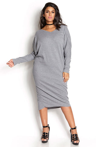 Rebdolls Essential 3/4 Sleeve Crew Neck Mini Dress - Mustard