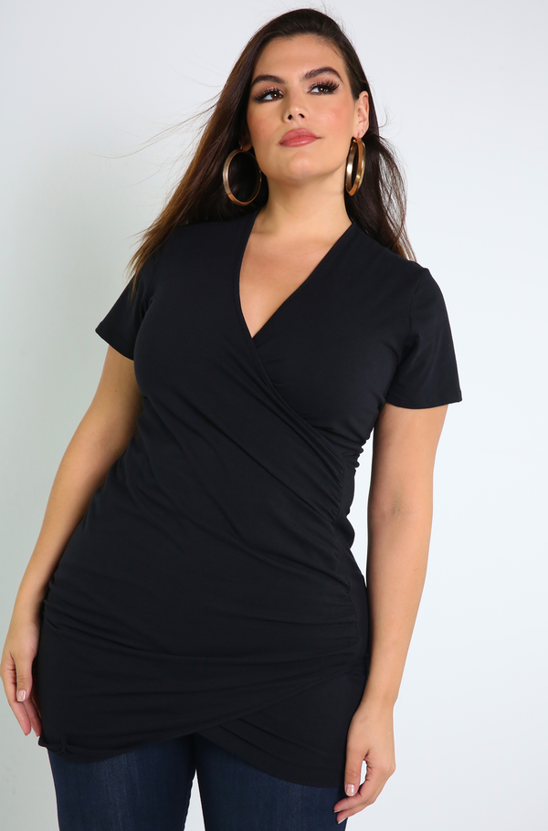 Black Ruched Long Top Plus Sizes