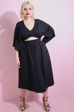 Black Cut-Out Skater Midi Dress Plus Sizes