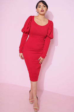 Red Puff Sleeve Bodycon Midi Dress plus sizes