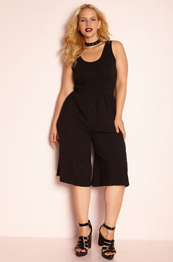 Black Culotte Tank Jumpsuit plus sizes