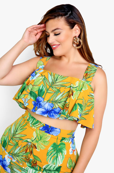 Mustard Floral Flutter Tank Crop Top Plus Sizes