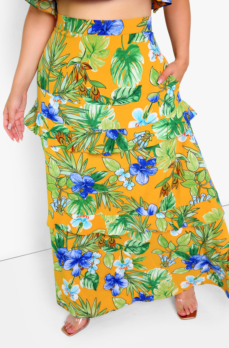 Mustard Floral Flutter Layered Maxi Skirt Plus Sizes