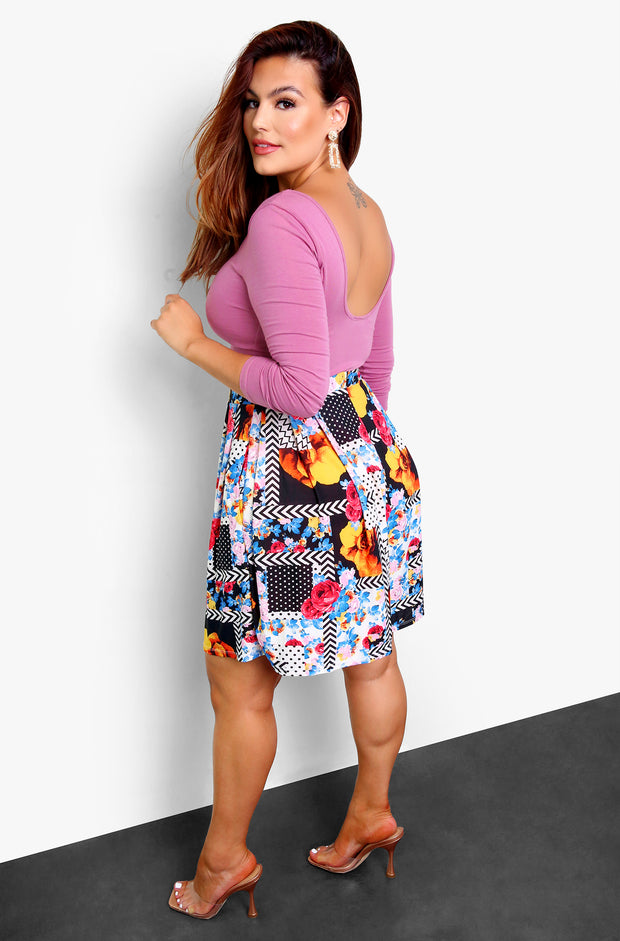 Black Printed Skater Skirt w. Pockets Plus Size