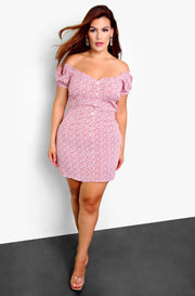 Pink Floral A-Line Mini Dress Plus Sizes