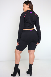 Black Thumbhole Crop Top Plus Sizes