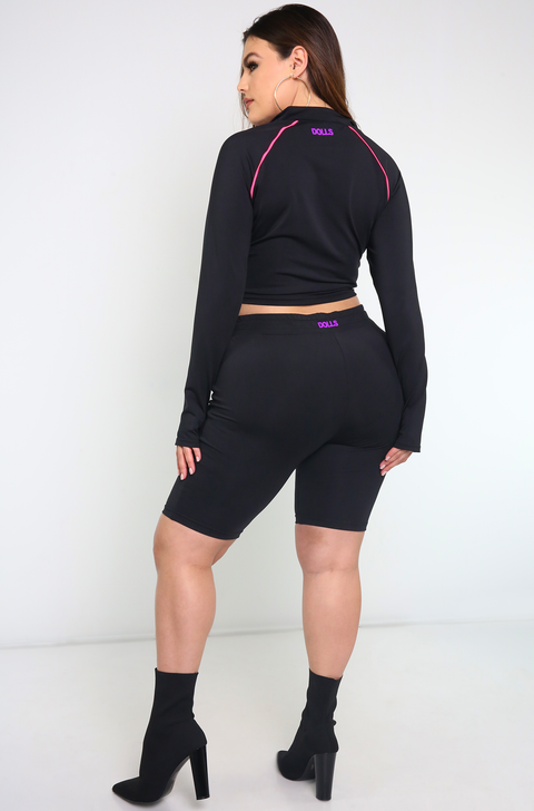 Black High Waist Bermuda Leggings Plus Sizes