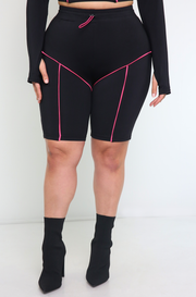 Black High Waist Bermuda Leggings Plus Size