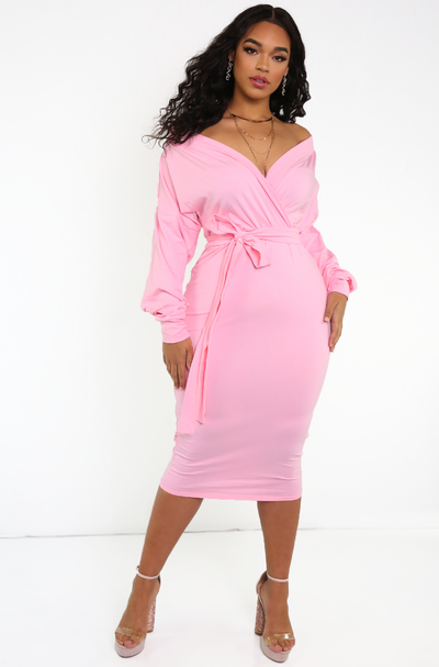 Pink Over The Shoulder Midi Dress Plus Sizes