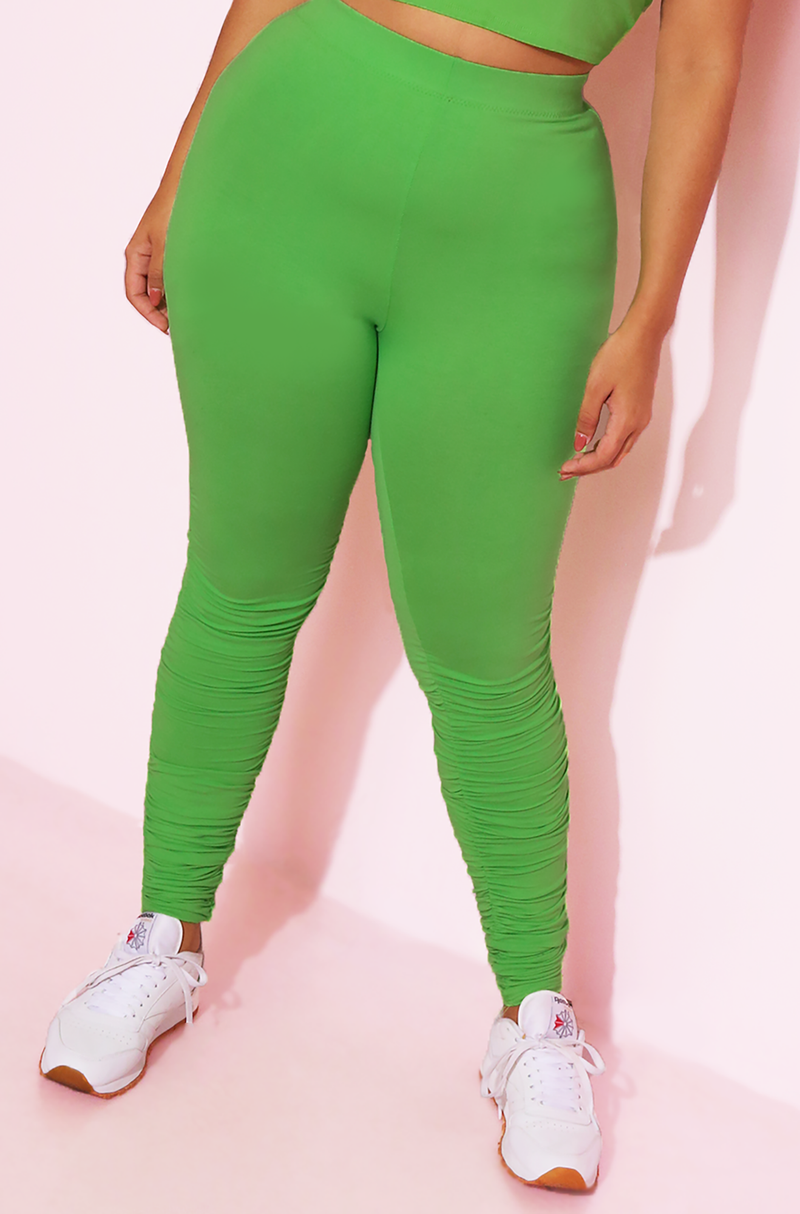 Lime Green Ruched High Waist Leggings Plus Sizes