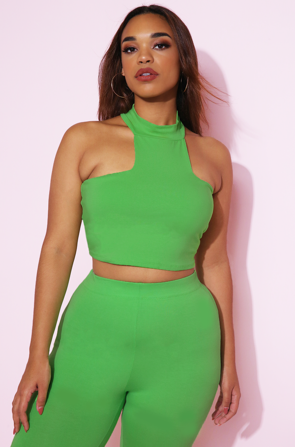 Lime Green High Neck Crop Top Plus Sizes