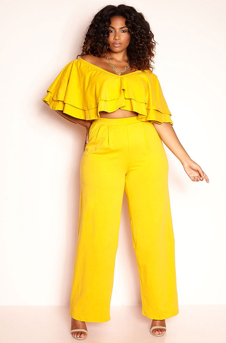 Mustard Pleated Pant plus sizes
