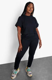 Black Long Sleeve Crop Top & High Waisted Pants Plus Size Loungewear Set