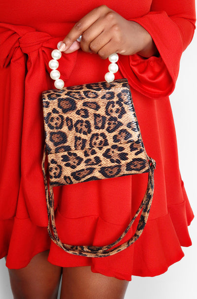 "Unbranded. ""Wild Night Out"" Leopard Print Handbag with Pearl Clutch"