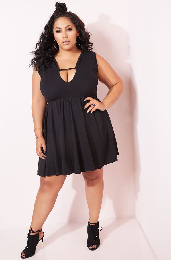Black Caged Skater Mini Dress plus sizes