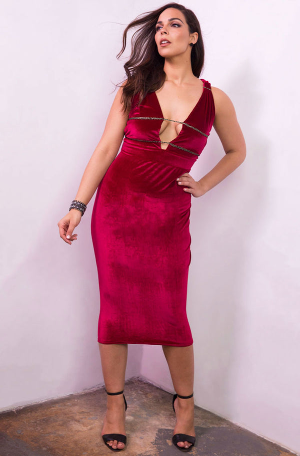 Burgundy Velvet Caged Bust Bodycon Midi Dress plus sizes