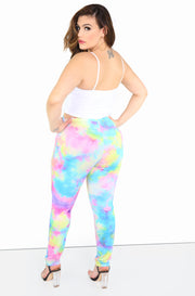 Turquoise Tie Dye High Waist Leggings Plus Sizes
