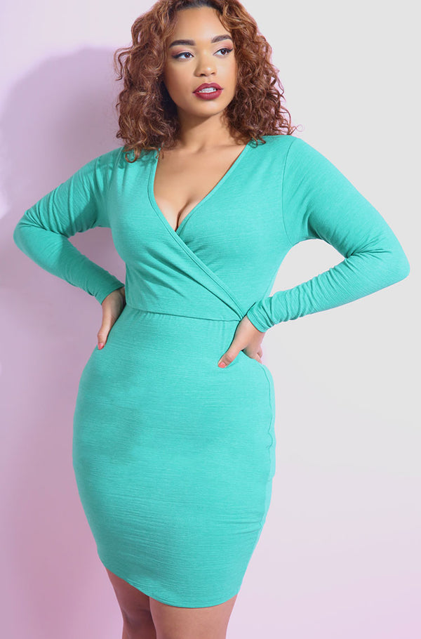 Aqua Cross Over Bodycon Mini Dress