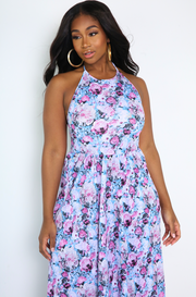 Blue Halter Maxi Skater Dress plus sizes