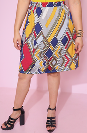 Yellow Muticolor Print A-Line Mini Skirt Plus sizes