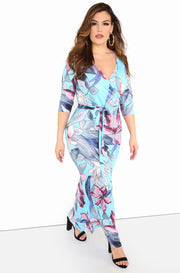 Light Blue Floral Bodycon Maxi Dress Plus Sizes