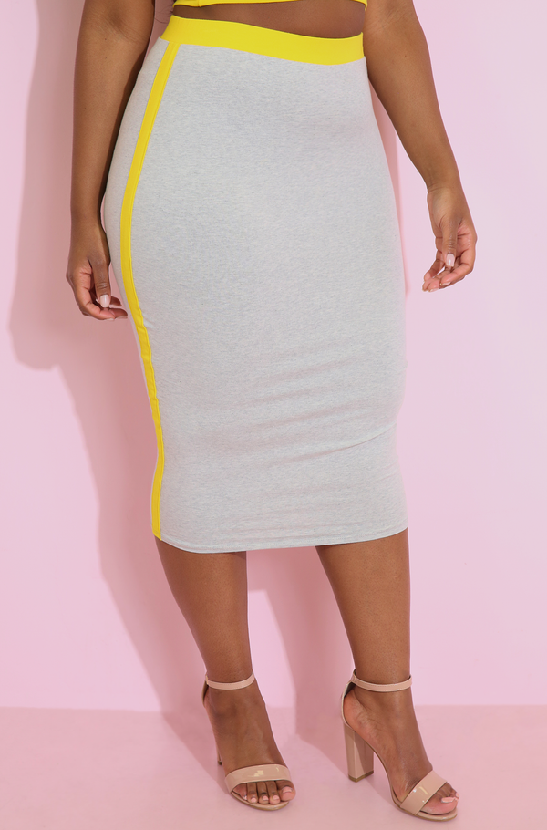Gray Two Tone Bodycon Midi Skirt plus sizes