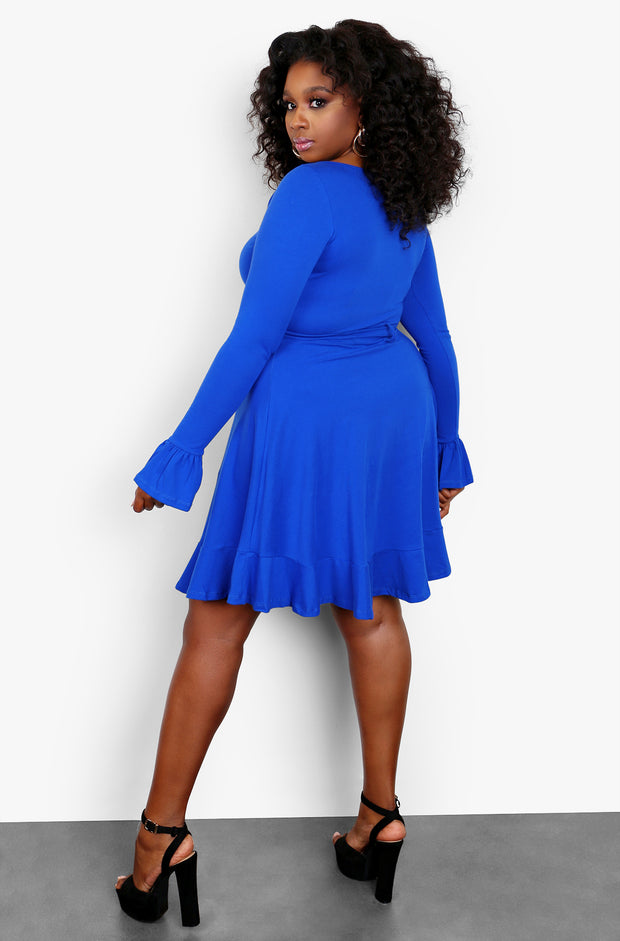 Royal Blue Long Flared Sleeve Tie Front Mini Dress