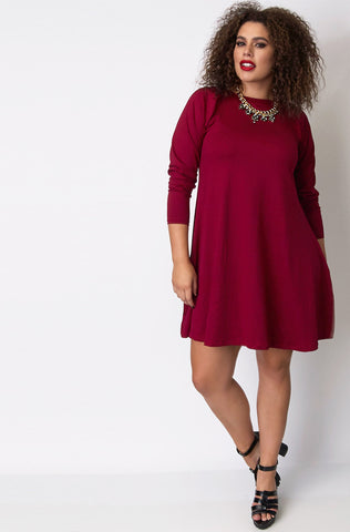 Rebdolls Essential Scoop Neck Mini Skater Dress With Pockets-Fuschia - FINAL SALE CLEARANCE