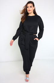 Black Terry Insulated Sweater Plus Sizes
