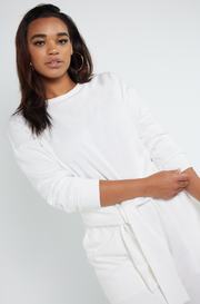 Bone White Terry Insulated Sweater Plus Sizes