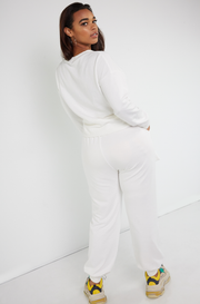 Bone White Terry Insulated Leggings Plus Sizes