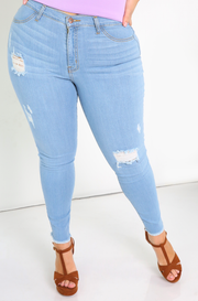 Light Blue Ripped Skinny Jeans Plus Sizes