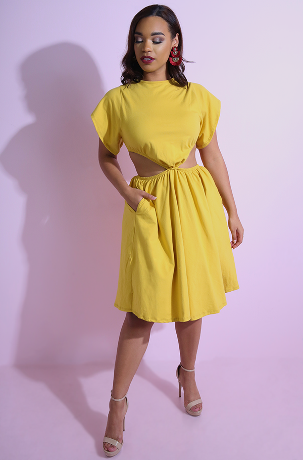 Yellow Cut-Out Skater Midi Dress plus sizes