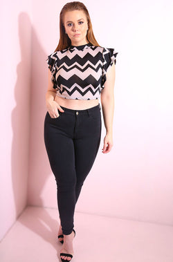 Black Chevron Flutter Sleeves Crop Top plus sizes