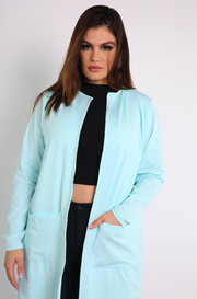 mint Blue Long Sleeve Cargo Cardigan plus sizes