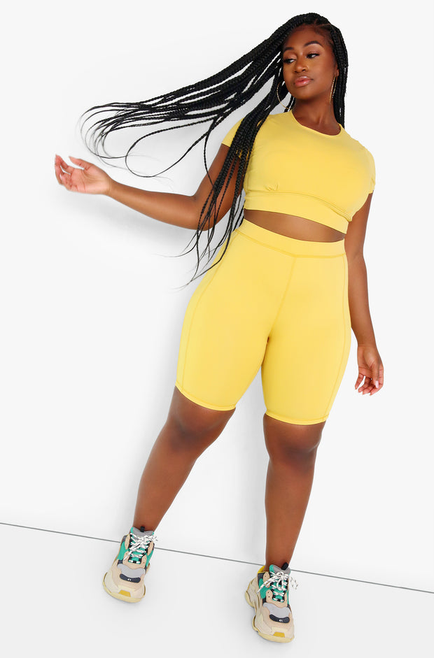 Yellow High Waist Biker Shorts Plus Sizes