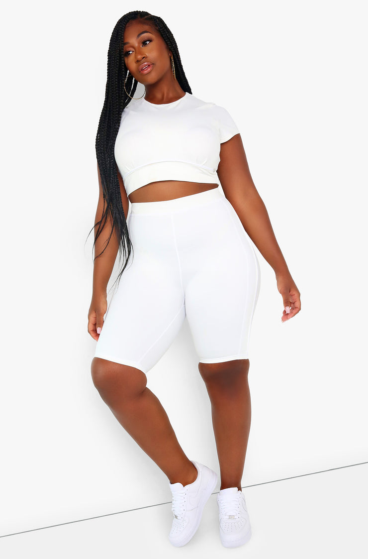 White High Waist Biker Shorts Plus Sizes