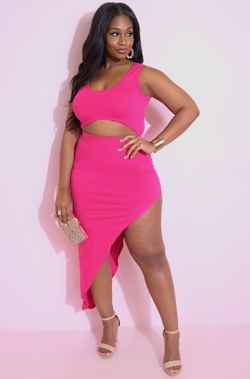 Fuchsia Cut-Out Asymmetrical Maxi Dress Plus Sizes