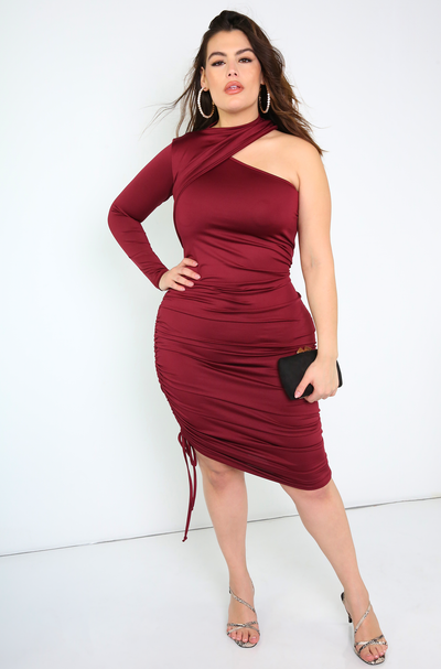 Burgundy Ruched Bodycon Midi Dress Plus Sizes