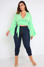 Mint Green Wrap Kimono Sleeve Crop Top