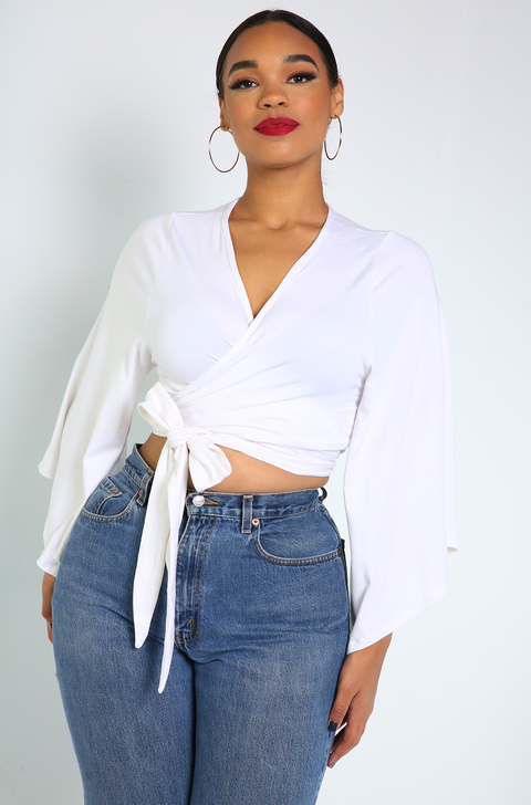 White Wrap Kimono Sleeve Crop Top Plus Sizes