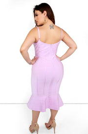 Lilac Ruffle V-Neck Midi Dress Plus Sizes
