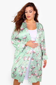 Mint Floral Midi Kimono Plus Sizes