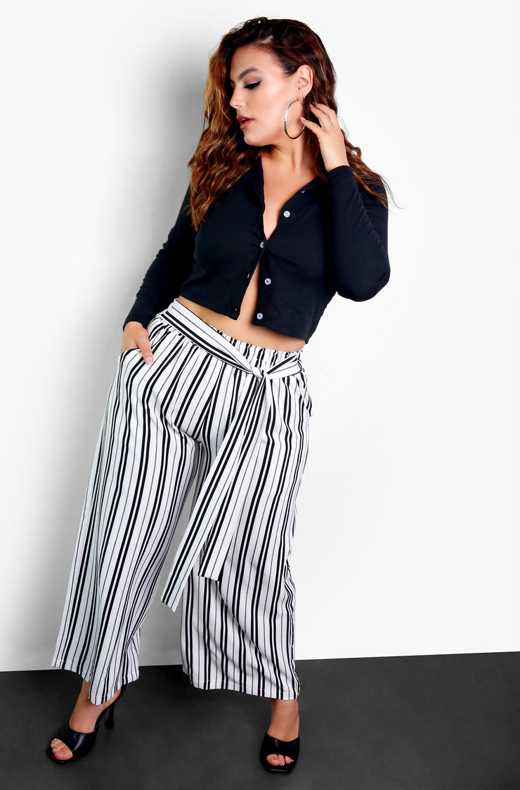 White Tie Front Striped Wide Leg Pants Plus Sizes