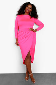 Hot Pink Draped Midi Dress