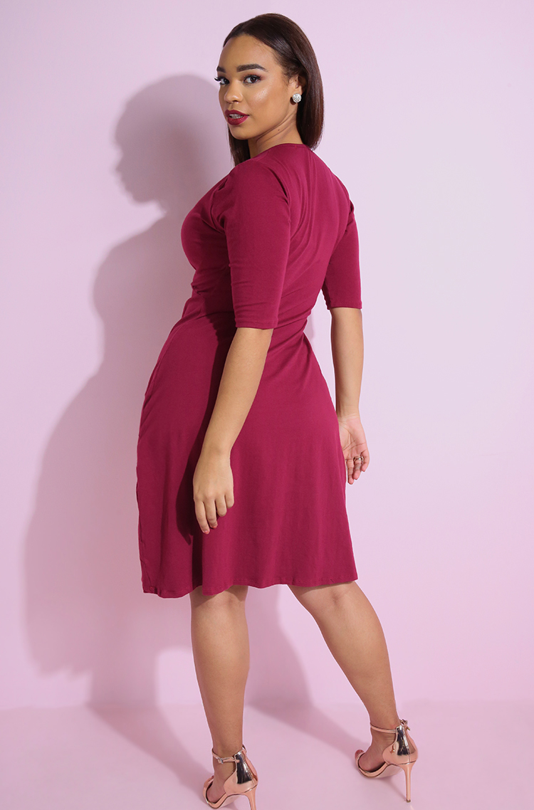 Burgundy Knotted A-Line Midi Dress plus sizes