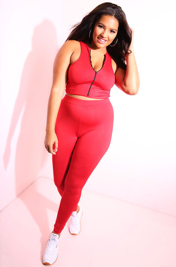 Red High Waist Leggings plus sizes